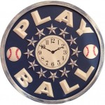 Play Ball clock in navy distressed with white plain arabic face