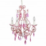 4 arm chandelier pink