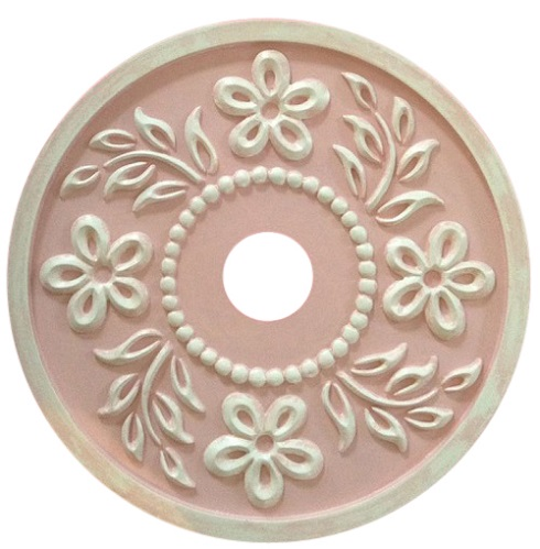 Hibiscus Ceiling Medallion pink distressed
