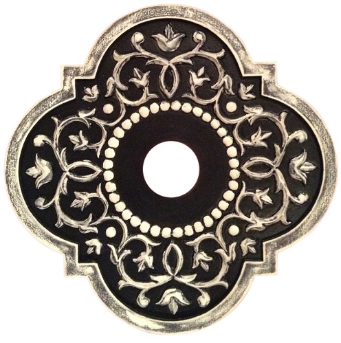 Mediterranean vine ceiling medallion shown in black distressed