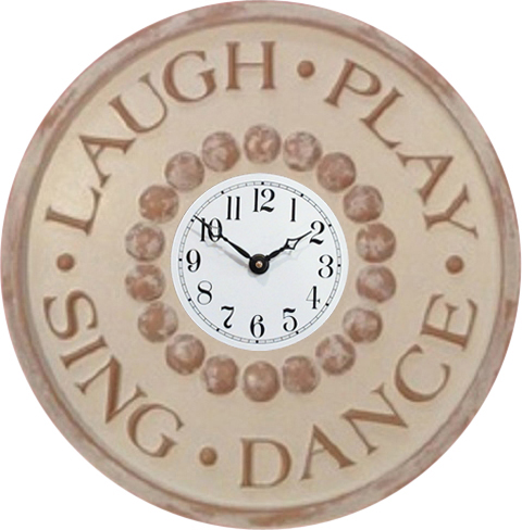 Laugh, Play, Sing, Dance ivory distresseed