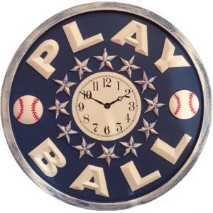 Play Ball Baseball Wall Clock