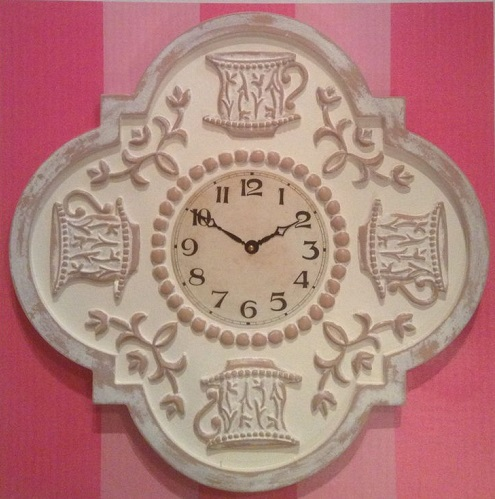 Teacup Clock Ivory distressed with Ivory face.