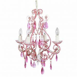 Nursery Chandelier Pink 4 Bulb