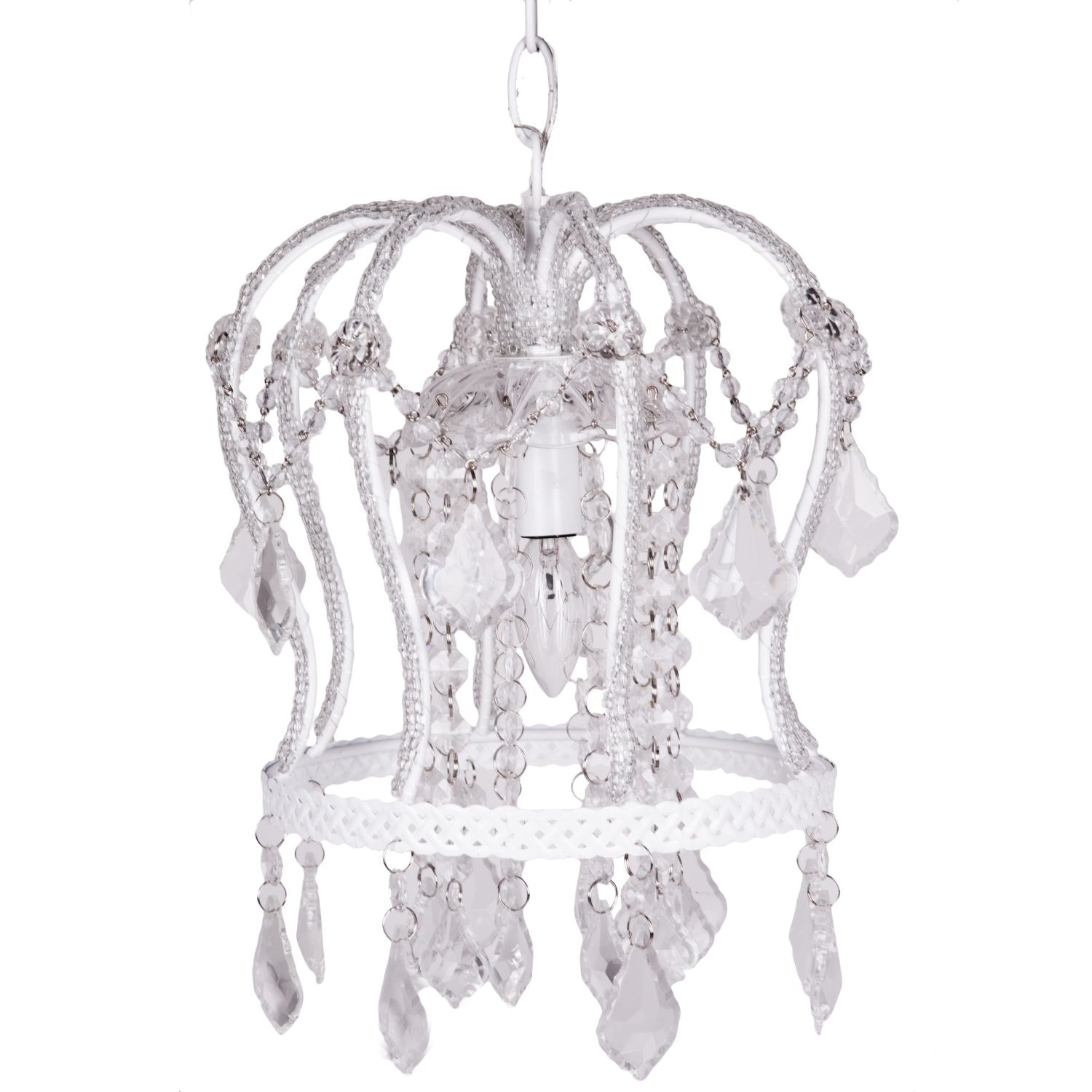 Nursery chandelier pink 4 bulb marie riccimarie ricci nursery crown chandelier white arubaitofo Image collections