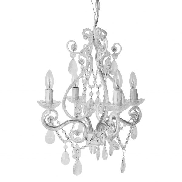 white 4 arm chandelier 2nd image
