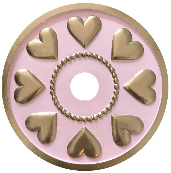 heart medallion pink and gold